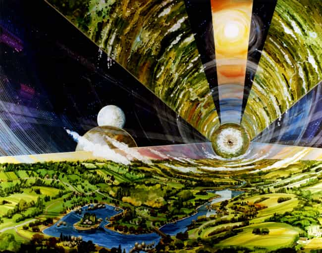Cylindrical Colony: Interior V... is listed (or ranked) 3 on the list 16 Insane Concept Drawings of What 1970s Nasa Thought The Future Would Be