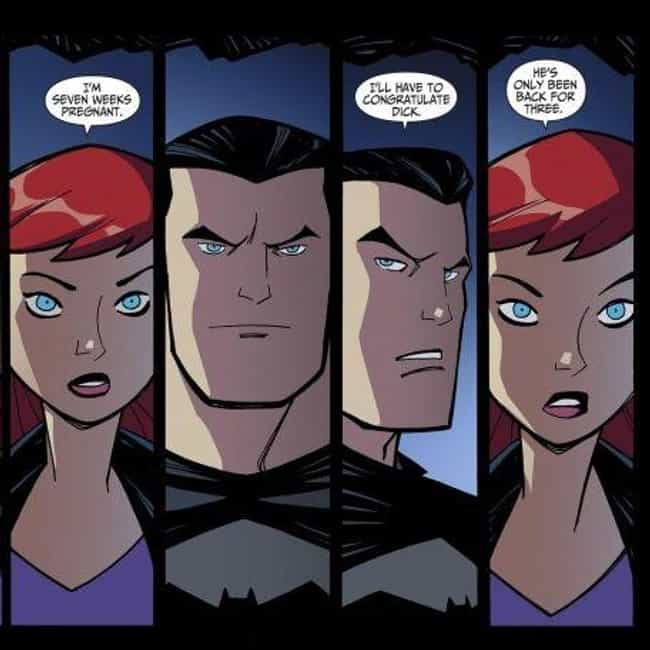 Bruce Wayne Impregnated Batgir... is listed (or ranked) 4 on the list Future Versions Of Your Favorite Superheroes That Are Really Disturbing