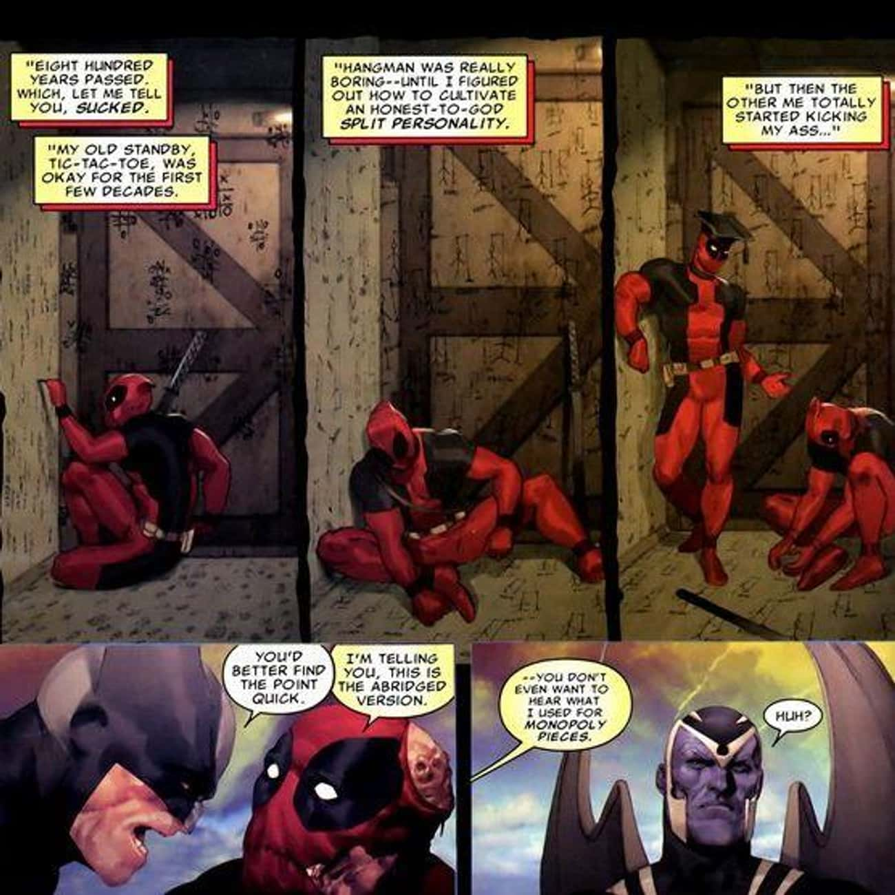 """Deadpool Ate Himself In """"M is listed (or ranked) 3 on the list Future Versions Of Your Favorite Superheroes That Are Really Disturbing"""