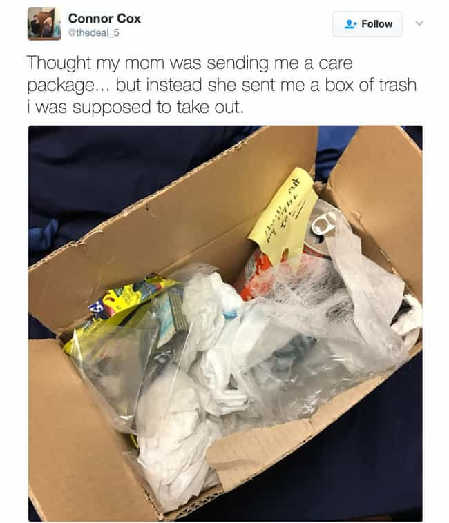 A Care Package That's Literall... is listed (or ranked) 4 on the list 23 Times Parents Hilariously Trolled Their Own Kids