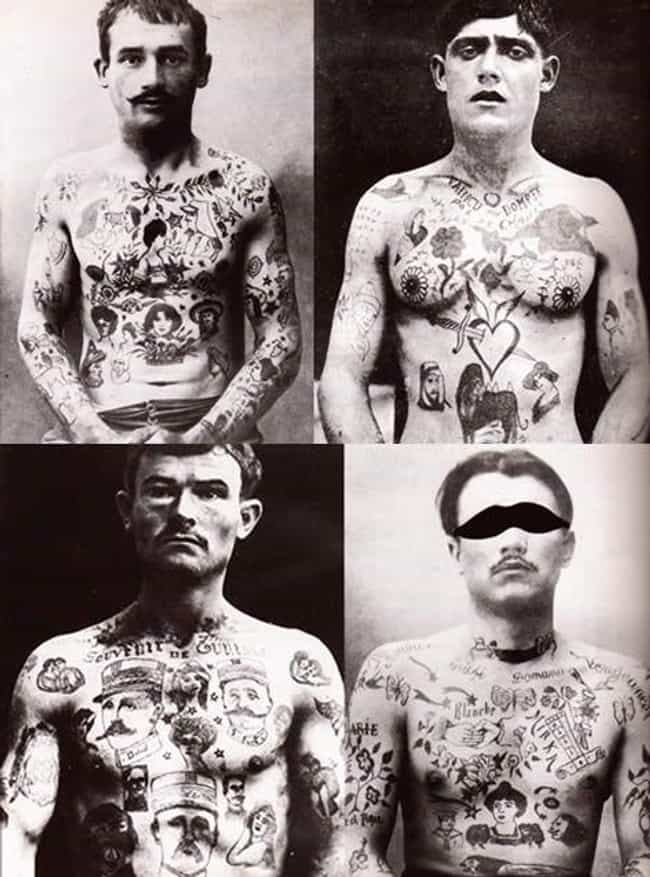 Four French Convicts, 1880s is listed (or ranked) 4 on the list Tattoo Photographs And Trends From The 19th Century