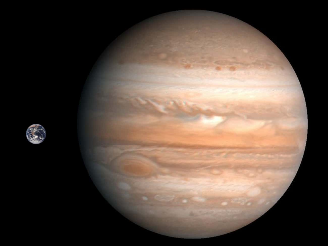 Jupiter's Volume Is 1,300  is listed (or ranked) 2 on the list 12 Utterly Mind-Bending Facts About The Size Of The Universe