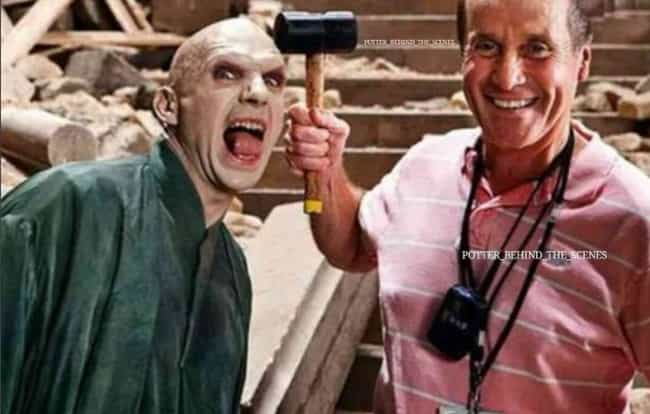 Voldemort (Ralph Fiennes) Show... is listed (or ranked) 4 on the list 20 Unforgettable Behind The Scenes Images From The Harry Potter Movies