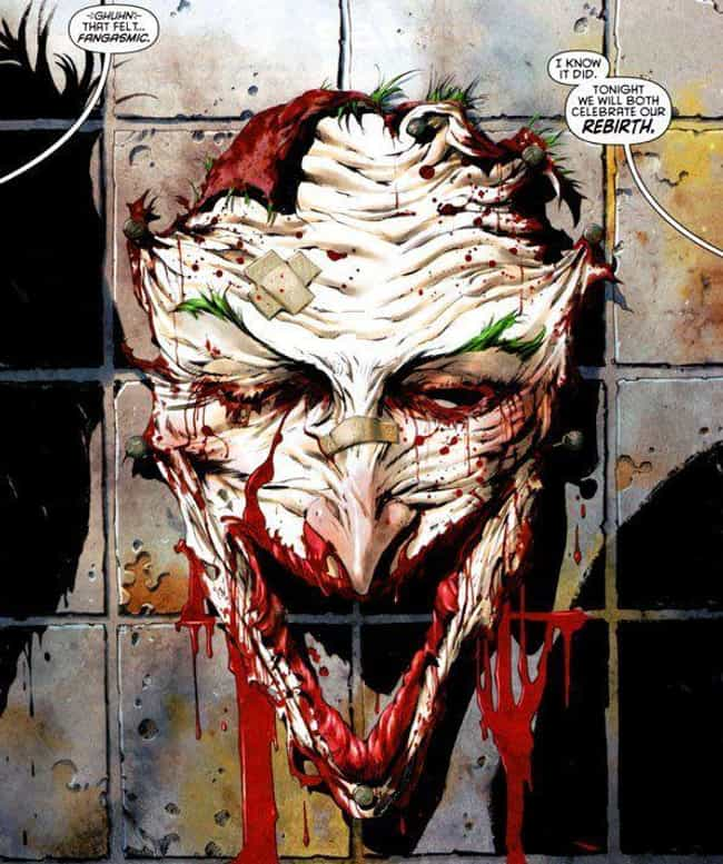Joker Cuts His Own Face Off (T... is listed (or ranked) 1 on the list The 15 Most Disturbingly Gory Moments In DC History