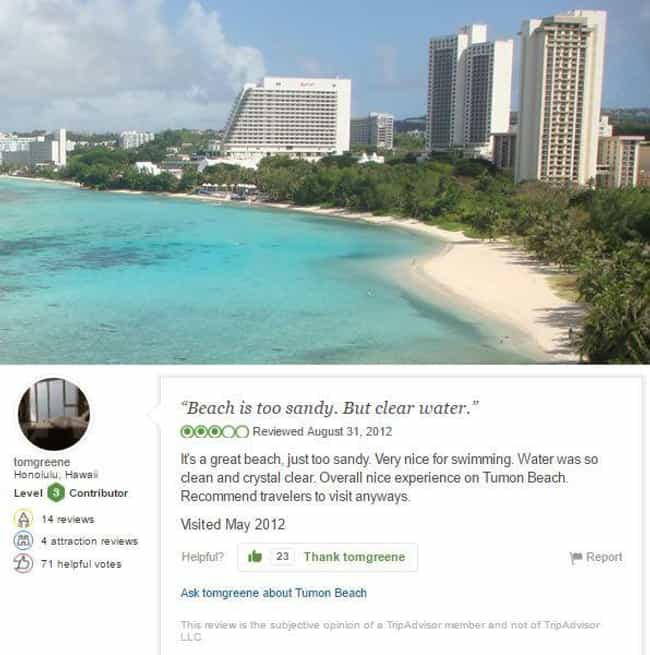This Just In: Beaches Ar... is listed (or ranked) 4 on the list 24 Absurdly Bad TripAdvisor Reviews