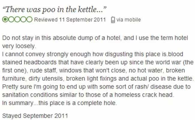 Just Poo It is listed (or ranked) 1 on the list 24 Absurdly Bad TripAdvisor Reviews