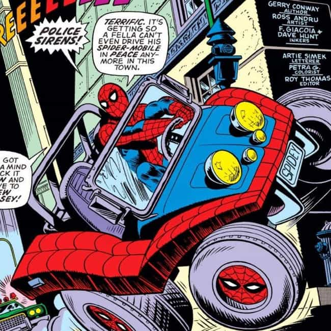 The Spider-Mobile is listed (or ranked) 4 on the list 13 Bizarre Happenings From Spider-Man's Youth That Didn't Show Up In Homecoming