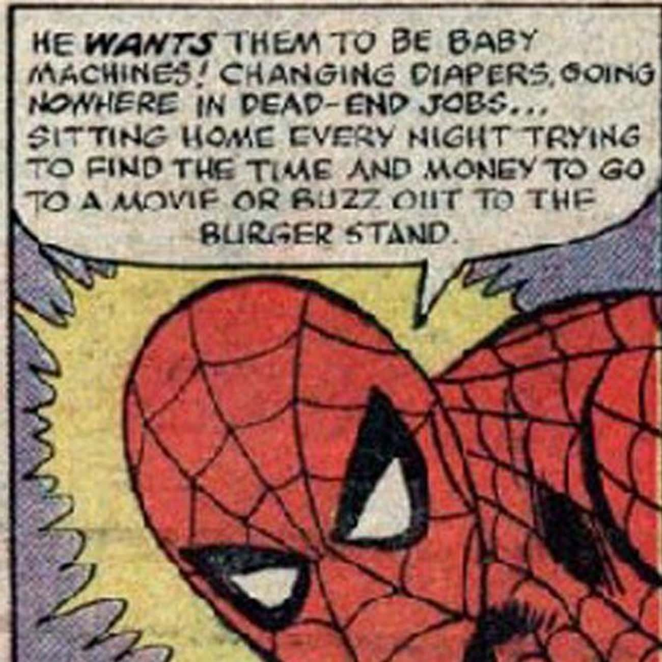 Spidey Taking A Stand Against  is listed (or ranked) 2 on the list 11 Bizarre Happenings From Spider-Man's Youth That Won't Show Up In The MCU