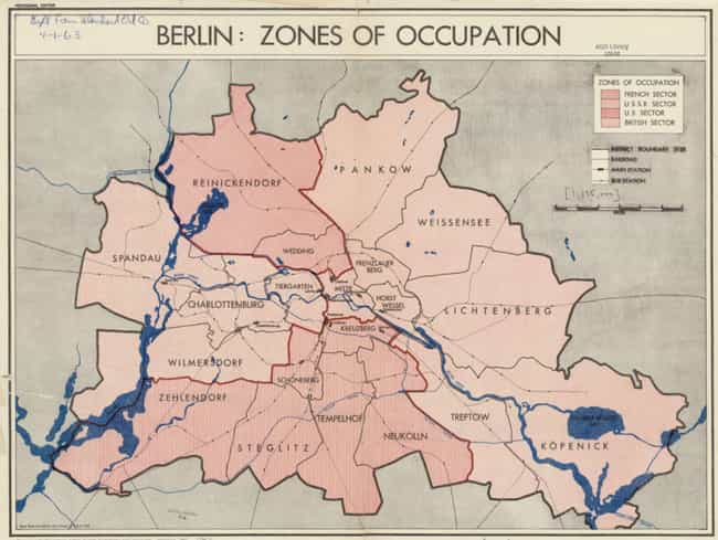Berlin Zones, 1945 is listed (or ranked) 3 on the list Declassified CIA Maps Reveal Top Secret 20th Century Cartography