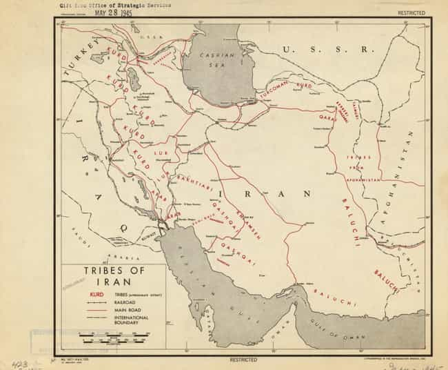 Tribes Of Iran, 1945 is listed (or ranked) 4 on the list Declassified CIA Maps Reveal Top Secret 20th Century Cartography