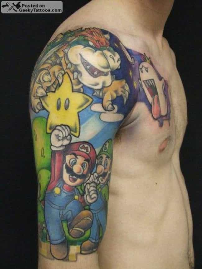 Super Mario Bros Sleeve is listed (or ranked) 4 on the list Best Video Game Tattoos