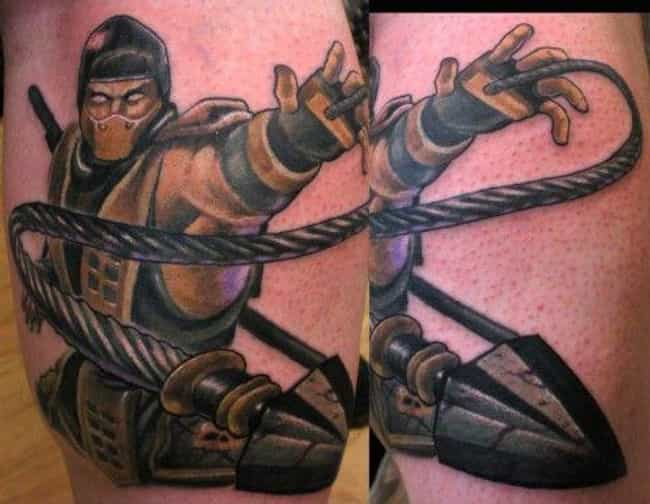 Scorpion From Mortal Kombat is listed (or ranked) 4 on the list Best Video Game Tattoos