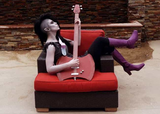 Marceline is listed (or ranked) 2 on the list 20 Flawless Adventure Time Cosplays That Are SO Math