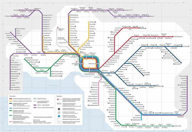 Victoria, Australia, Tra... is listed (or ranked) 4 on the list Public Transportation Maps From Around The World