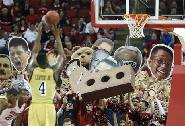 Too Many Holes is listed (or ranked) 4 on the list 23 Of The Funniest College Basketball Free Throw Distraction Signs