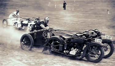 1936 – Policemen In South Wales Racing Motorcycle Chariots