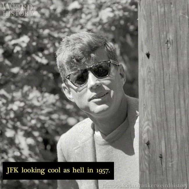 1957: JFK is listed (or ranked) 3 on the list 20 Rare Photos of World-Famous Celebrities In The 20th Century