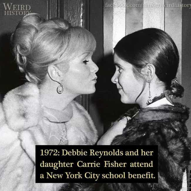 1972: Debbie Reynolds And Carr... is listed (or ranked) 2 on the list 20 Rare Photos of World-Famous Celebrities In The 20th Century