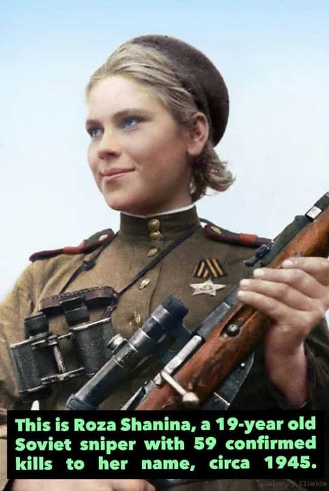 1945: A Soviet Sniper is listed (or ranked) 4 on the list 17 Rare Photos of Unique Women Throughout History