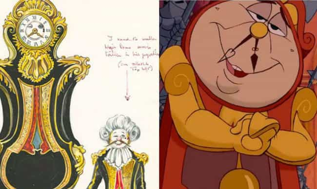 Cogsworth Dressed Down F... is listed (or ranked) 3 on the list Disney Concept Art That's Way Different Than What Ended Up In The Movie