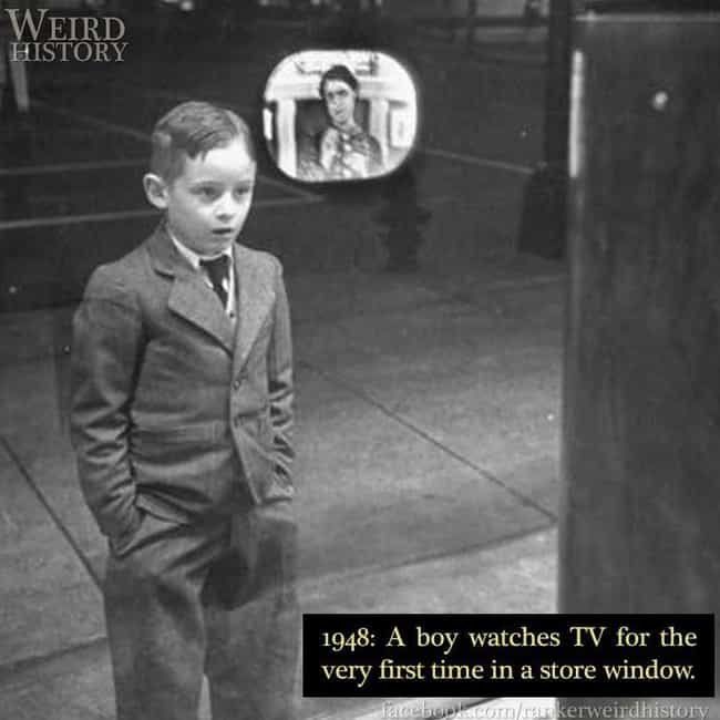 1948: Boy Watches TV For The F... is listed (or ranked) 2 on the list 26 Photos Capturing Bizarre Moments In Science Throughout History