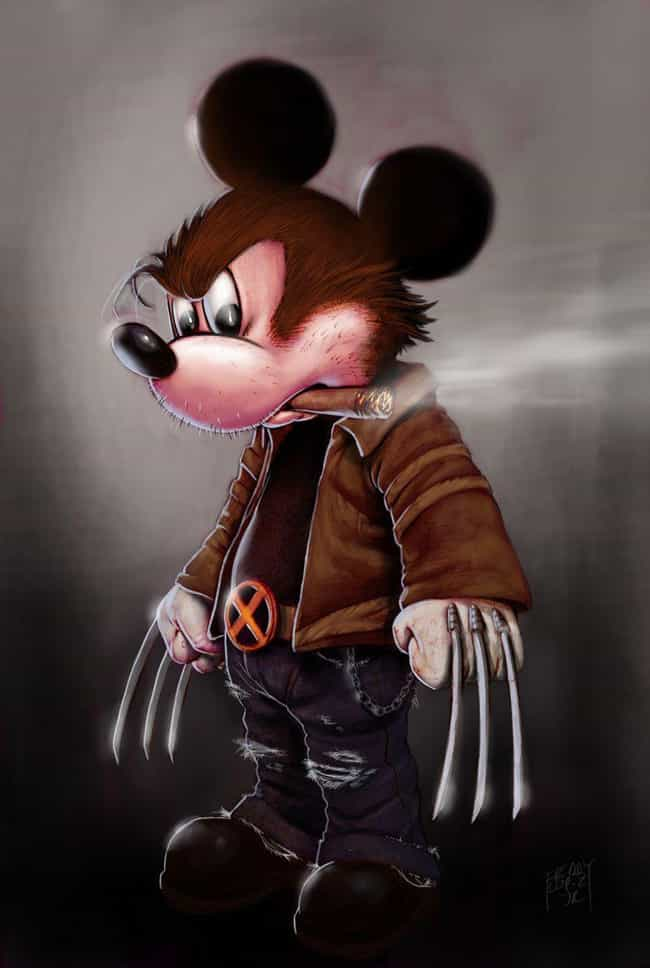 Mickey Mouse / Wolverine is listed (or ranked) 2 on the list 20 Pieces Of Outstanding Disney/Marvel Mashup Fan Art