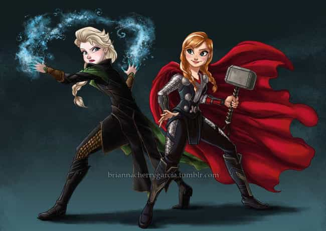 Anna Elsa / Loki Thor is listed (or ranked) 4 on the list 20 Pieces Of Outstanding Disney/Marvel Mashup Fan Art