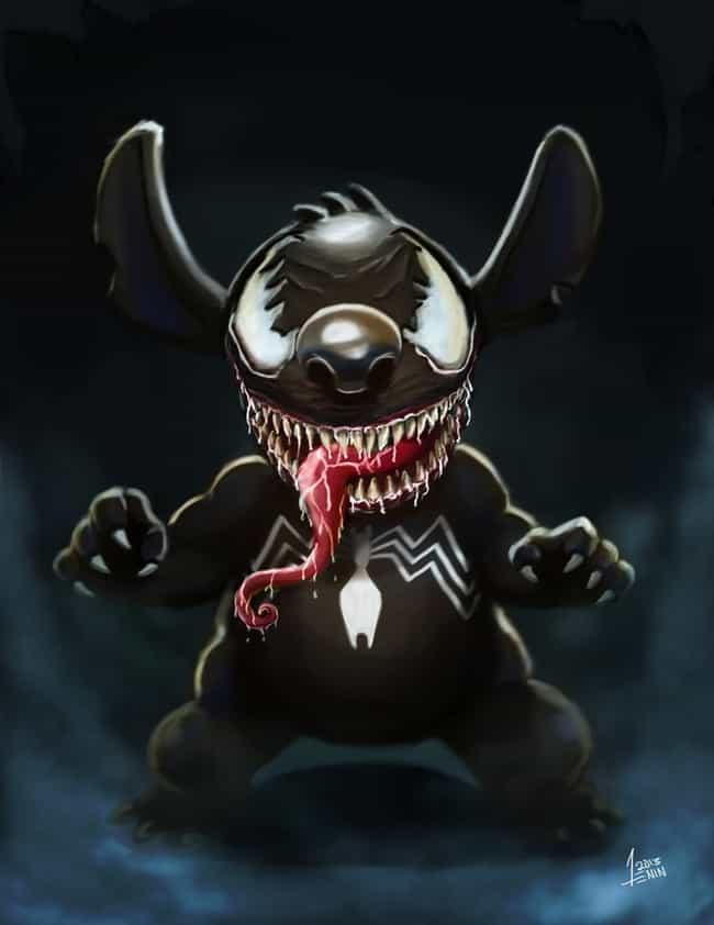 Stitch / Venom is listed (or ranked) 1 on the list 20 Pieces Of Outstanding Disney/Marvel Mashup Fan Art