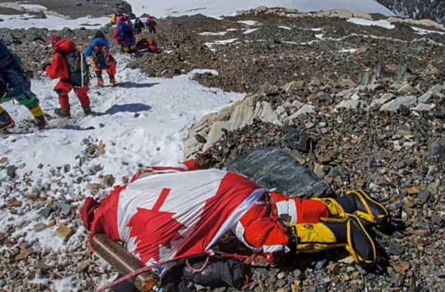 """The Final Hours Of """"Sleeping B... is listed (or ranked) 2 on the list 12 Disturbing Stories Of Dead Bodies Left To Decompose On Top Of Mount Everest"""