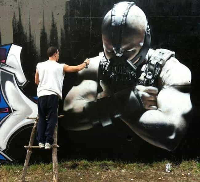 Badass Bane Graffiti is listed (or ranked) 3 on the list Amazing Acts Of Movie Graffiti