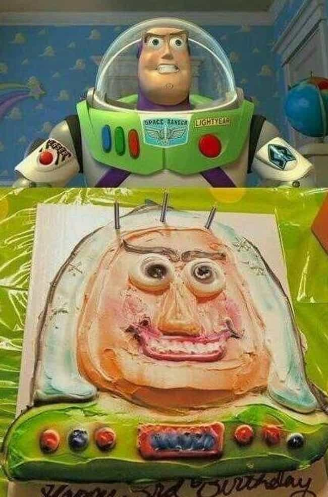 Buzzed Lightyear is listed (or ranked) 4 on the list 17 Horrifying Disney Cake Disasters