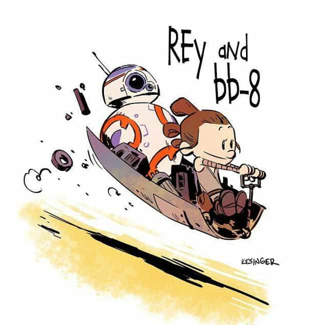 Rey And BB-8 is listed (or ranked) 2 on the list 21 Calvin And Hobbes Comics Reimagined With Different Characters