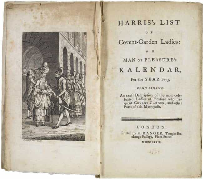 London's 'Covent-Garden ... is listed (or ranked) 2 on the list 10 Flat-Out Bizarre Historical Field Guides To Prostitution
