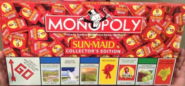 Sun-Maid Raisins Monopol... is listed (or ranked) 1 on the list The 15 Most Unnecessary Versions Of Monopoly In Human History