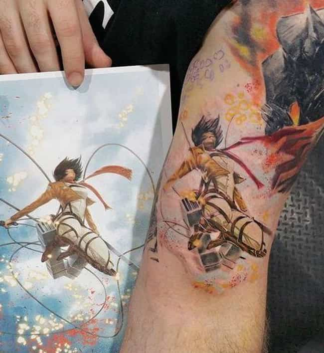 Mikasa In Flight is listed (or ranked) 2 on the list Absolutely Terrific Attack On Titan Tattoos