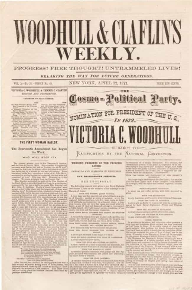 She And Her Sister Were ... is listed (or ranked) 2 on the list 14 Facts About Victoria Woodhull, The First Woman To Ever Run For President