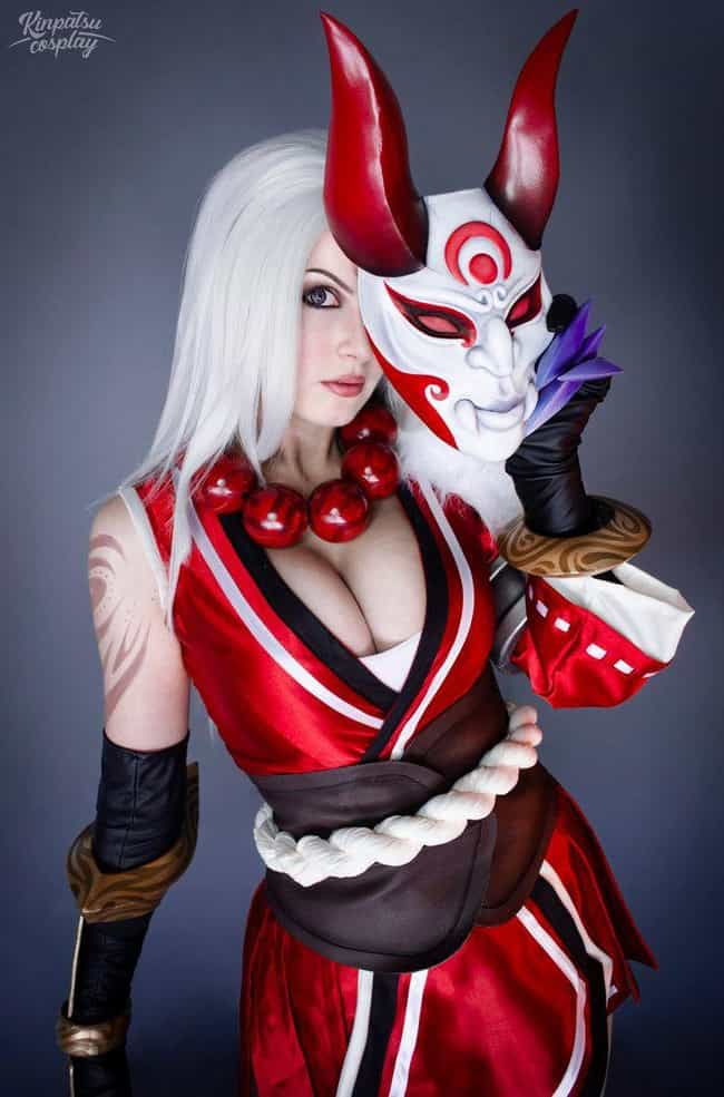 Bloodmoon Diana is listed (or ranked) 3 on the list 22 Gorgeous Outfits From Kinpatsu Cosplay, A Gaming Cosplay Queen