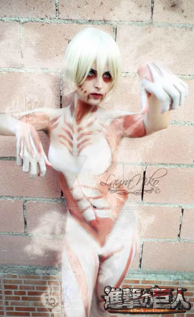 Female Titan is listed (or ranked) 4 on the list 21 Attack On Titan Cosplays That The Live Action Film Needs To Take Notes From