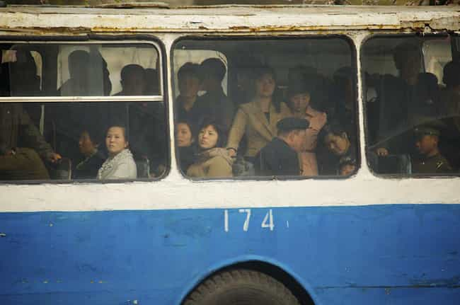 A Packed City Bus is listed (or ranked) 3 on the list 28 Snapshots Of Daily Life In Pyongyang, North Korea