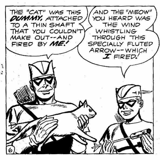 Fake Cat Arrow is listed (or ranked) 1 on the list 15 Very Absurd Trick Arrows From The Green Arrow Comics