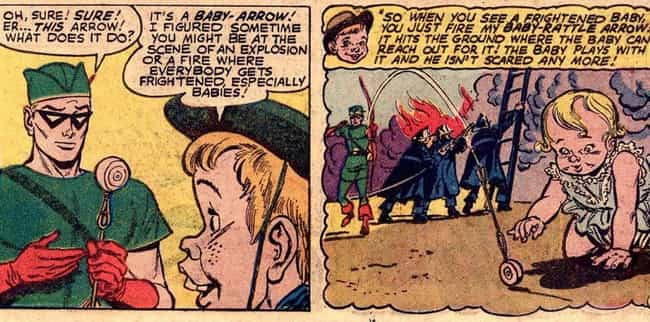 Baby Rattle Arrow is listed (or ranked) 3 on the list 15 Very Absurd Trick Arrows From The Green Arrow Comics