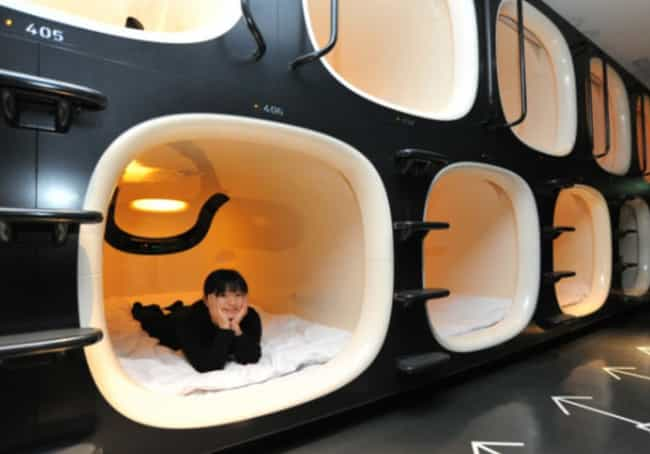Capsule Hotels is listed (or ranked) 4 on the list 16 Instances Of Everyday Japanese Tech That Make You Wish You Lived In Japan