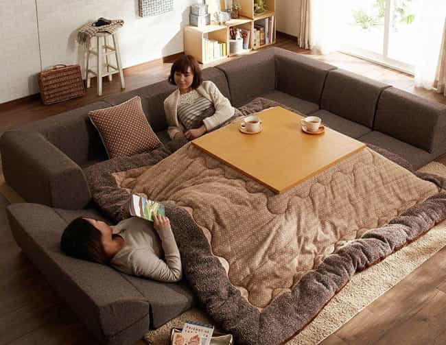 A Table And Blanket Hybrid is listed (or ranked) 2 on the list 16 Instances Of Everyday Japanese Tech That Make You Wish You Lived In Japan