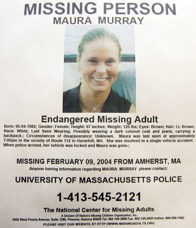 She Mysteriously Disappeared I... is listed (or ranked) 2 on the list 15 Hard Facts And Out-There Theories Regarding Maura Murray's Disappearance