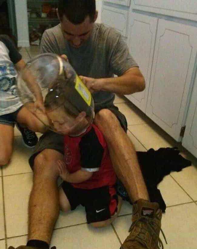 Joey's Parents Suspected... is listed (or ranked) 1 on the list 23 Hilarious Photos Of Kids With Their Heads Stuck In Unfortunate Places