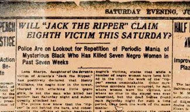 Near Beheading Spawns On... is listed (or ranked) 2 on the list 17 Gruesome Facts About The Atlanta Ripper, The American South's Own 'Jack'