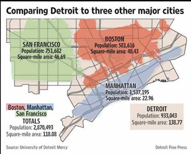 Detroit Compared To Boston, Ma... is listed (or ranked) 2 on the list Relative Size Maps Of Cities Around The World
