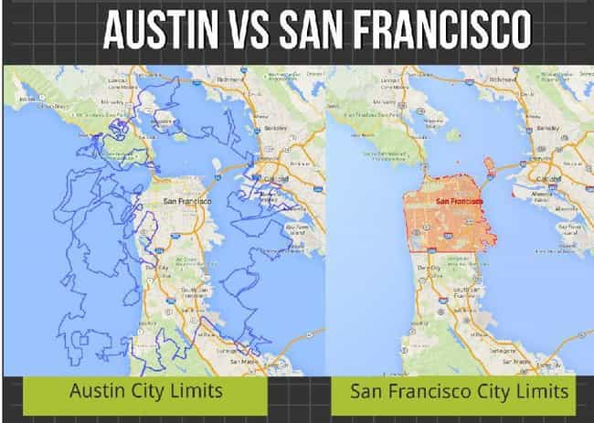 Austin, Texas Dwarfs San Franc... is listed (or ranked) 4 on the list Relative Size Maps Of Cities Around The World