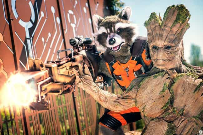 Rocket Raccoon And Groot is listed (or ranked) 2 on the list 25 Guardians Of The Galaxy Cosplays That Are Out Of This World