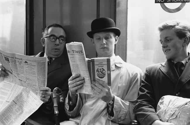 Reading Lady Chatterley'... is listed (or ranked) 2 on the list 22 Vintage Photos Of People Riding The Tube